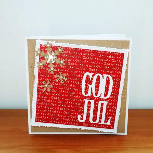 Julkort i rött, vitt och naturpapper