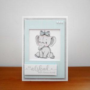 Blått kort med elefant