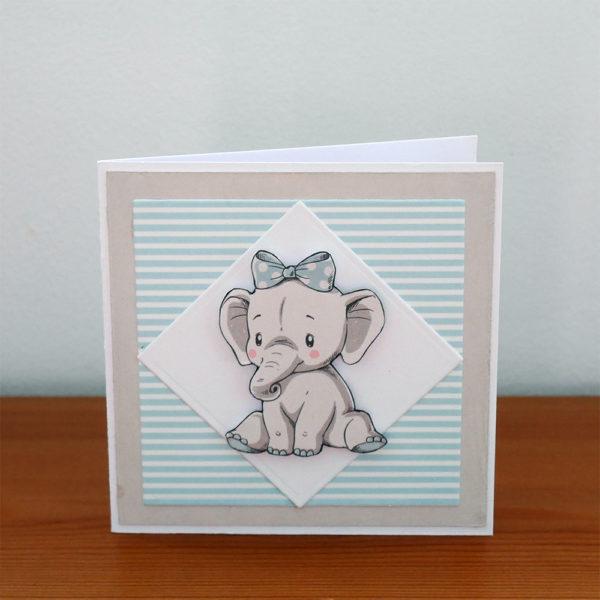 Litet elefantkort i blått och grått