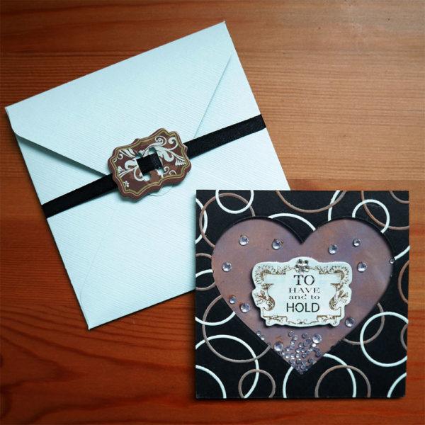 Mörkt kärlekskort som går att skaka inkl. kuvert