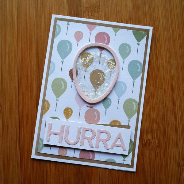 Pastellfärgat födelsedagskort med ballonger