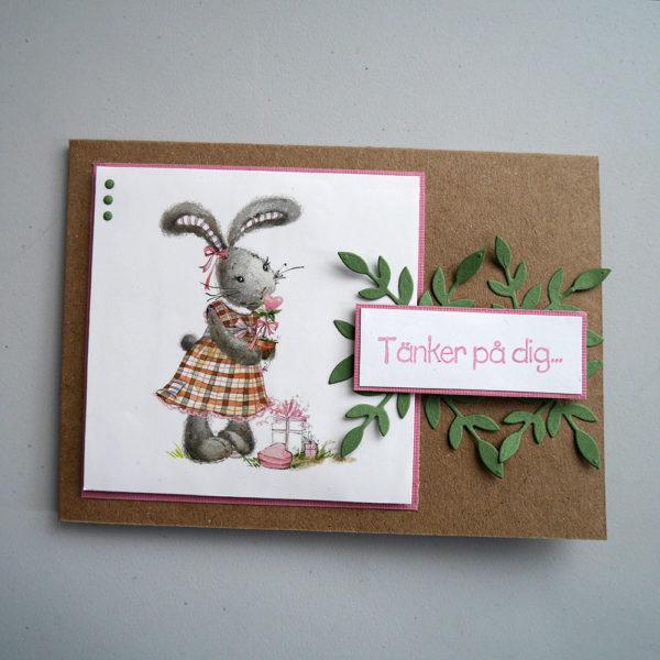 Tänker på dig-kort med söt kanin