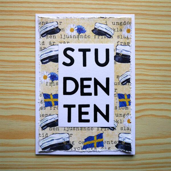 Stående studentkort i A6-format.